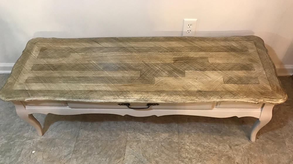 Coffee Table After Faux Transformation to Driftwood